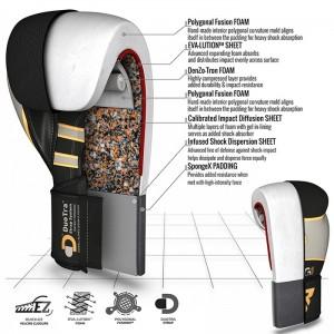 Боксерские перчатки RDX Leather Black White 10 oz